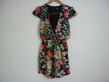 """WOMEN'S """"STATE OF LOVE"""" FLORAL DEEP V NECK PLAYSUIT W/SHORT CAP SLEEVES SIZE 8"""