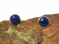 Round  Blue  LAPIS  Gemstone Sterling  Silver  925  Stud Earrings -  8 mm