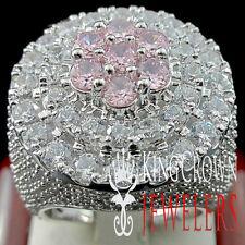 MENS BIG XXL REAL WHITE GOLD SILVER PINK TOURMALINE JUMBO RING BAND LAB DIAMOND