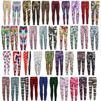 New Girls Kids Animal Floral  Printed Leggings Various Sizes 7 -13 Years
