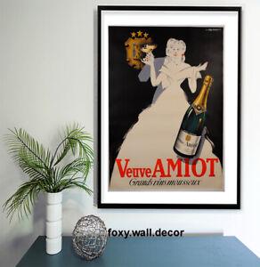 "Vintage print poster for glass frame 36"" x 24"" art advert  Champagne"