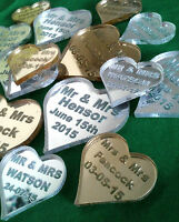 Personalised Heart Table Decoration Wedding Favours Scatter Engraved