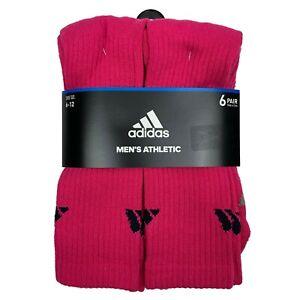 adidas Men's Pink Crew Socks 6 Pair Shoe Size 6-12 Men's Athletic Socks