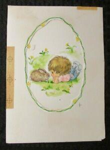 "EASTER Cute Girl in Pink Shirt w/ Bunny Rabit 6.5x9"" Greeting Card Art #2852"