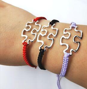 Handmade Woman Bracelet Nylon Cord Coloured Bracelet Silver Plated Puzzle Charm