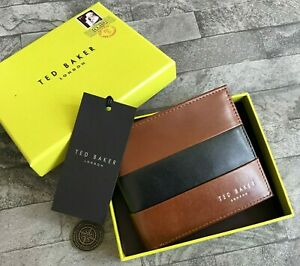 TED BAKER BROWN & BLACK LEATHER WALLET WITH COIN POUCH BNIB