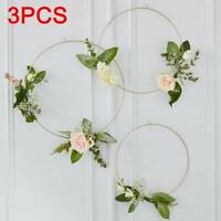 3x Gold Floral Hanging Hoops Garland Wreath Wedding Anniversary Party Decoration