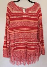 Two-One-Two N Y Longsleeve RedWhite Beautiful Knit Fringe Blouse Large NWT$58