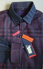 NWT $145 LUCHIANO VISCONTI Signature Limited Ed M BLACK NAVY Plaid Shirt 3510