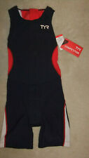 Tyr Female Triathlon suit with back zipper - Navy Blue/Red/White - Size: Small