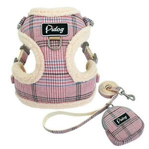 Small Dog Harness & Lead & Treat Bag Plain Fleece Breathable Puppy Walking Vest