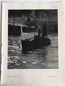 FIRST of the FLEET, ships, Docks, 1945 Vintage RP Print, Harold White, London