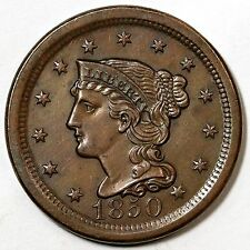 1850 N-9 R-2 Braided Hair Large Cent Coin 1c