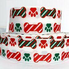 "Grosgrain Ribbon 7/8"", 1.5"" Christmas Dog Paw Prints Bones Printed Hairbows"
