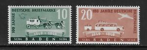 GERMANY - BADEN - 1949 - GERMAN STAMP CENTENARY - SET 2V - MNH