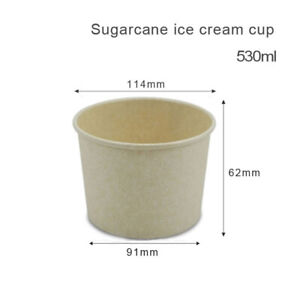 Take Away Containers Sugarcane Paper Bowl with pp Lid 200pcs/530ml