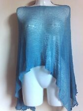NEW THIN  KNIT PONCHO SHAWLS TURQUOISE PARTY  SCARVES VINTAGE HOLIDAY STOLE TOPS
