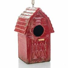 Distressed Red Barnhouse 8x6 Ceramic Birdhouse With Twine Hanger