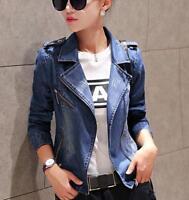 A1 Women's Spring autumn Slim Fit Denim jacket Washed Blazer Coat Outwear Jacket
