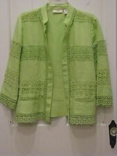 Chico's Irish Linen Open Front Lace Embellished Jacket Topper SZ 2 Green