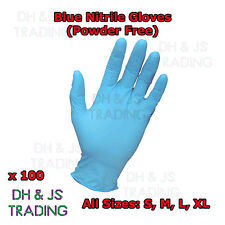 Blue Nitrile Powder Free Disposable Medical Gloves 100 Boxed S, M, L, XL