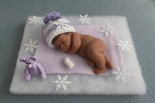 "4"" POLYMER CLAY OOAK  ETHNIC CURLY HAIR BABY DOLL w/HANDMADE BOTTLE AND BLOCKS"