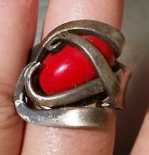 Vintage Bohemian Ring International Silver Fork Red Stone Artsy Heart Artisan