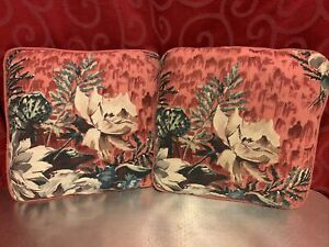 "TWO Vintage Square BARKCLOTH PILLOWS Pink Floral Flowers Roses 12"" x 12"""