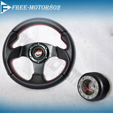Steering Wheel Type 2 280mm Black With JDM  Logo Horn Red Stitch + Hub Adapter