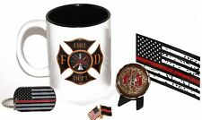 11 .oz Black and Gold Fireman's Shield Coffee Cup with Saint Florian Coin
