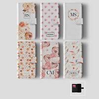 Personalised Initials iPhone Samsung Wallet Phone Case Shabby Chic Floral Flower