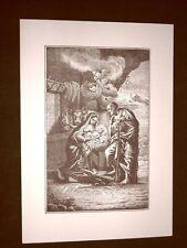 Litografia Natale Natività Breviarum Romanum del 1848 Ristampa