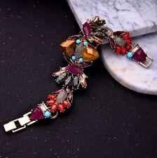 Bracelet Doré Large Gros Violet Marron Rouge Yeux de Tigre Baroque CT10