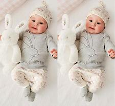 Lovely Conejo Recién Nacido Bebe Niña Ropa Camiseta Pantalones Sombrero Trajes