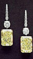 925 Sterling Silver Cz Yellow Radiant White Round Dangle Women Earring Niki Gems