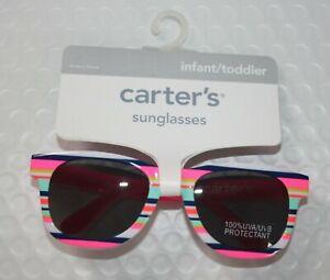 New Carter's Girls Sunglasses 100% UVA-UVB 0-24m 0-2 year Pink Blue Stripes