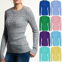 WOMEN'S LADIES CREW NECK CABLE KNITTED SWEATER LONG SLEEVE PULLOVER JUMPER TOPS