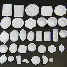 33 Pcs Dollhouse Miniature Tableware Plastic Plate Dishes Set Mini Food HY