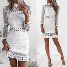 Spring White Ladies Boho Women's Swimwear Cover Up Lace Crochet Beach Mini Dress
