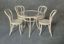 1:12 Scale White Metal Table & Four Chairs Dolls House Miniature Cafe Pub Garden