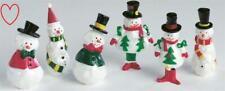 6 Mini Snowman Christmas Cake Decorations Yule Log Toppers Xmas Figures Picks
