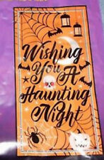HALLOWEEN party Scene Setter HAUNTING NIGHT wall/door LIGHTS UP cover poster 5ft