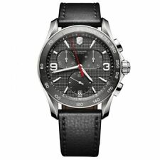 Victorinox Chrono Classic Grey Dial Black Leather Strap Men's Watch 241657