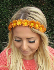Marron clair daisy chain flower garland bandeau cheveux bande couronne festival boho 1955
