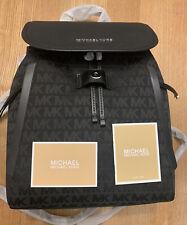 MICHAEL KORS Evie Black Monogram Backpack GENUINE NEW RRP £360