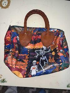 Vintage Nordic House Designs Handbag Leather Handle Purse Bag Halloween-Exl Cond