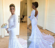 New Backless Lace White Wedding Dress Mermaid Bridal Gowns with Long Sleeve