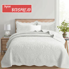 Luxury White Cotton Bedspread Quilted Bedding Single, Double, King & Superking