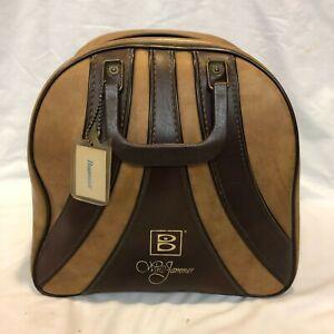Vintage BRUNSWICK WINDJAMMER Bowling Ball Bag w/ Metal Wire Rack Two-Tone Tan