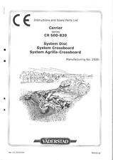 Transporteur vaderstad-CR 500 650 & 820 système disque opérateurs & manuel de pièces